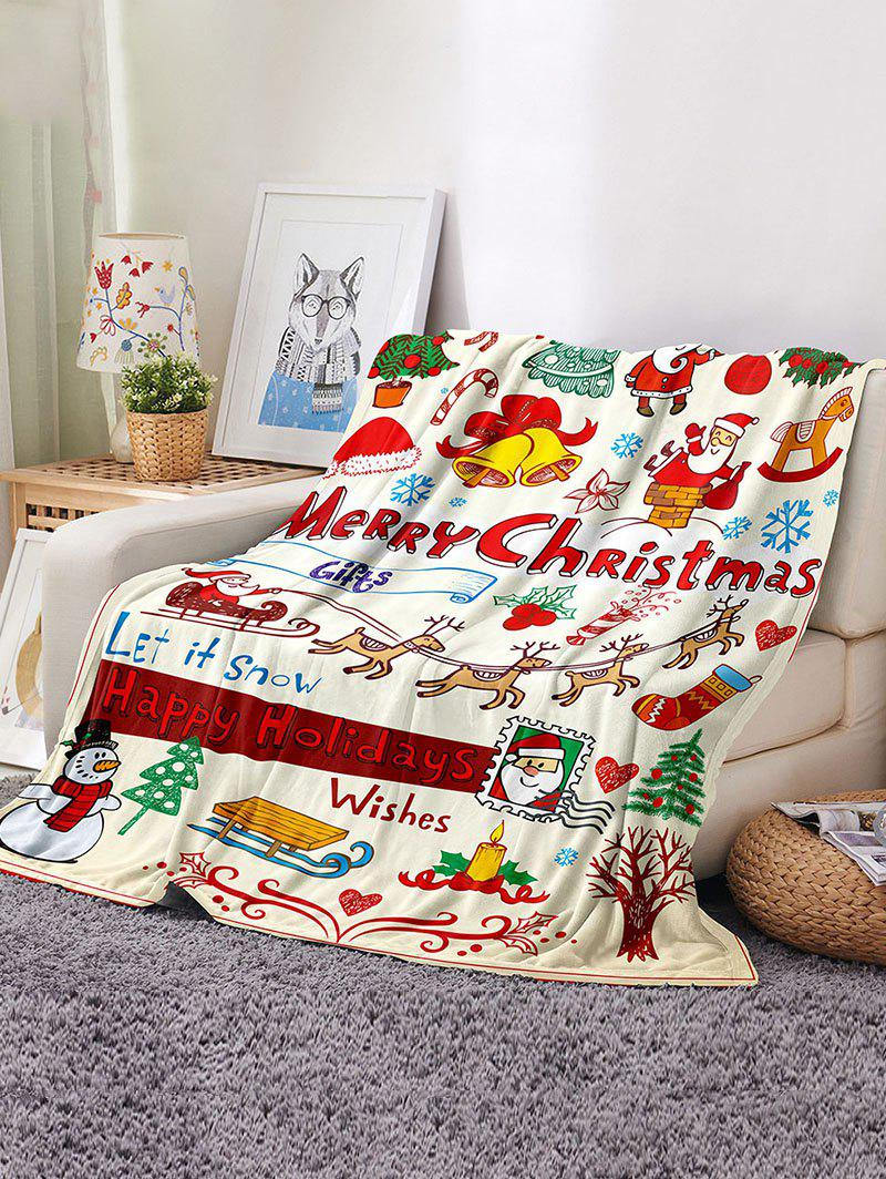 Chic Christmas Cartoon Santa Print Flannel Blanket