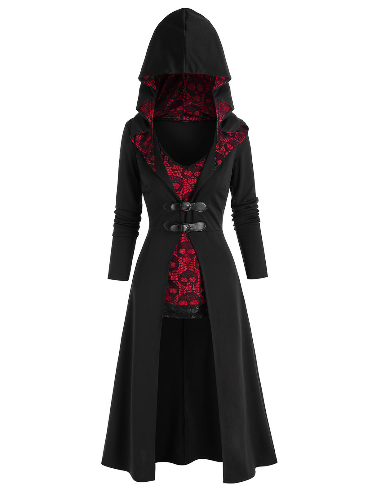 Sale Halloween Buckles Long Coat and Skull Lace Tank Top Set