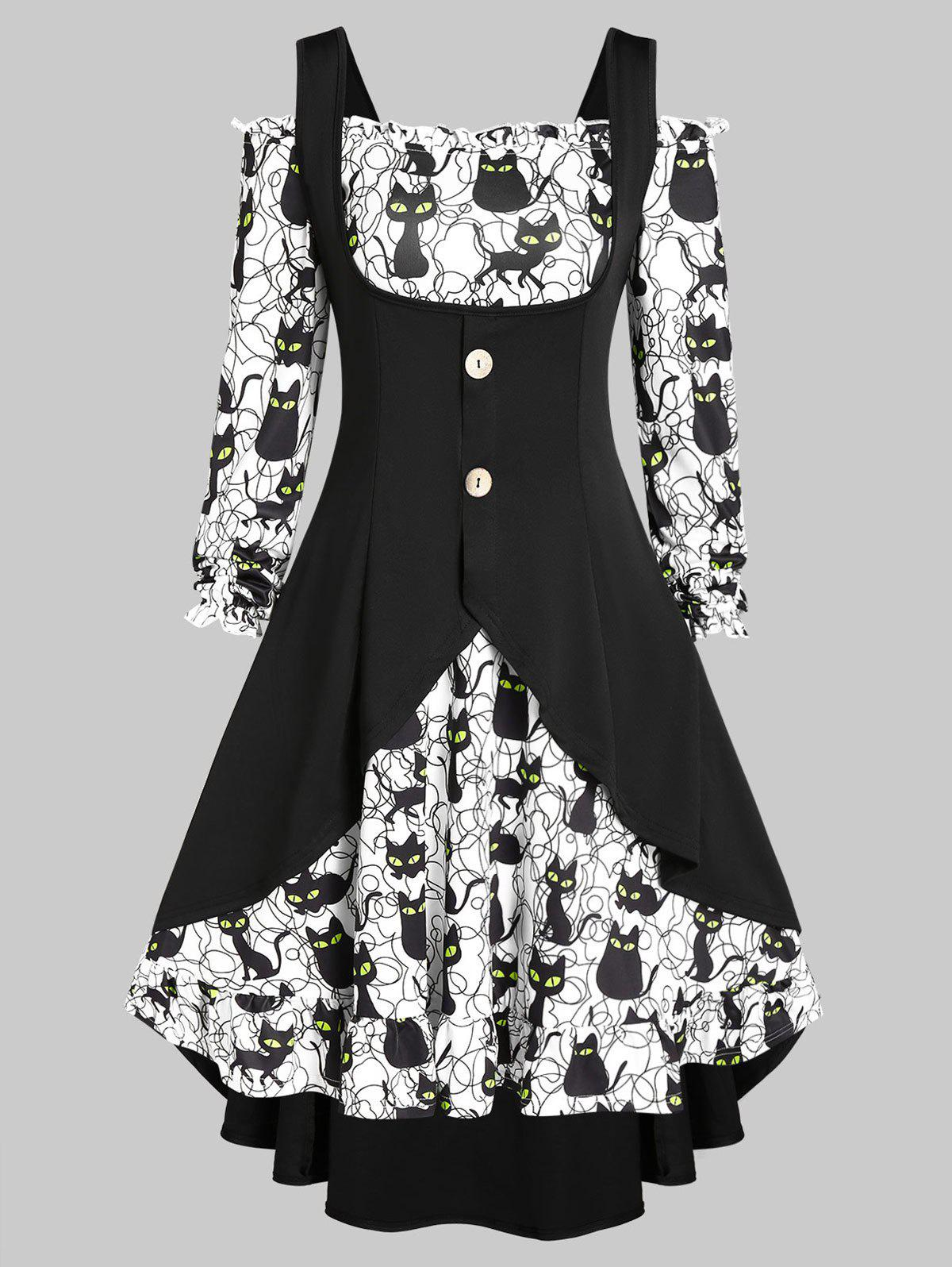 Shops Off The Shoulder Halloween Cat Print Dress and Buckles Top Set