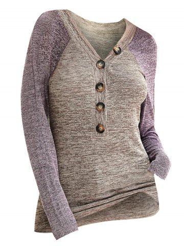 Contrast Heathered Button Front V Neck Knitwear