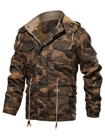 Camouflage Print Toggle Drawstring PU Leather Cargo Jacket