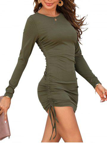 Ribbed Cinched Side Long Sleeve Slinky Dress