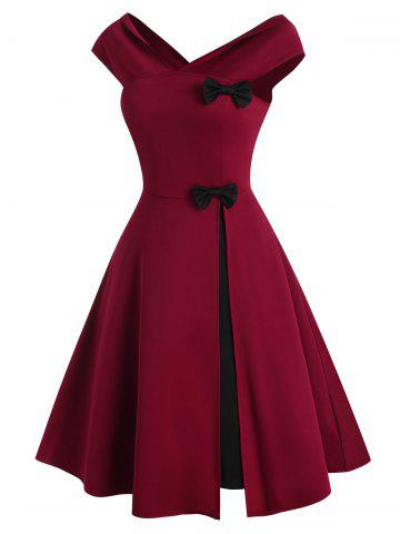 V Neck Bowknot Colorblock Party Dress - RED - 2XL
