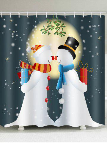 Christmas Print Snowman Waterproof Shower Curtain