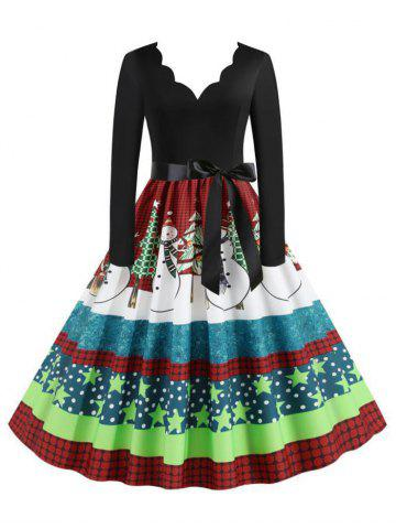 Scalloped Belted Plaid Snowman Christmas Tree Plus Size Dress