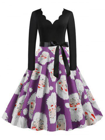 Belted Saclloped Santa Claus Christmas Plus Size Dress - PURPLE - 5XL