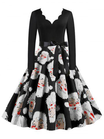 Belted Saclloped Santa Claus Christmas Plus Size Dress