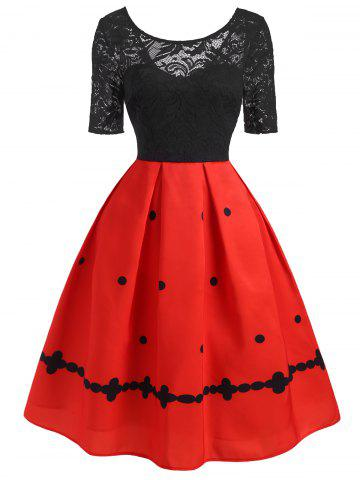 Lace Insert Polka Dot High Waisted Dress - RED - 2XL