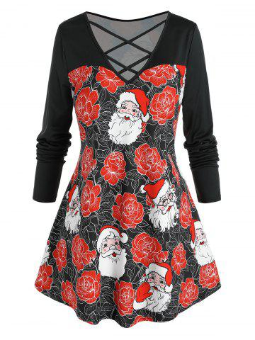 Plus Size Christmas Flower Claus Lattice Cross Long Sleeve Tee