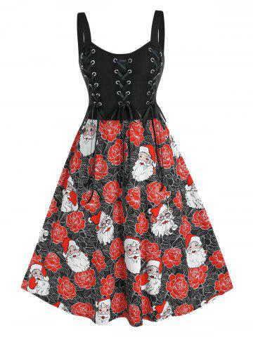 Plus Size Christmas Claus Flower Lace-up A Line Backless Dress