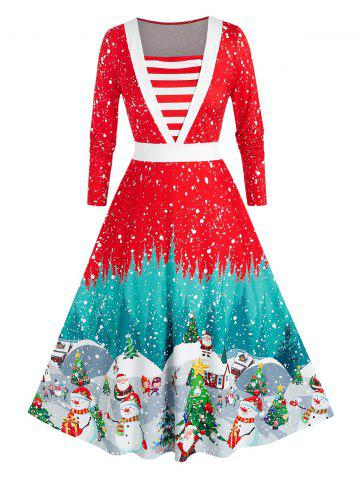 Plus Size Christmas Snowflake Snowman A Line Midi Dress - RED - 2X