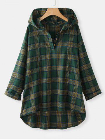 Plus Size Plaid Hooded High Low Top - GREEN - 4XL