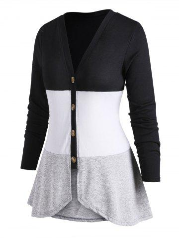 V Neck Button Up Colorblock Plus Size Cardigan
