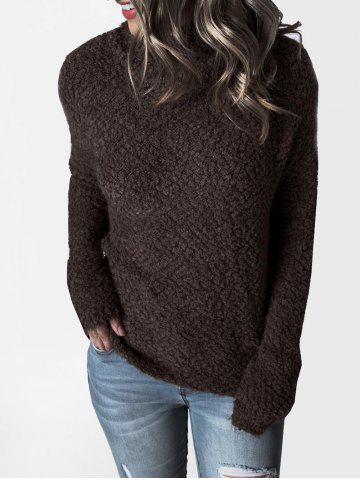 Mock Neck Boucle Knit Plain Sweater - DEEP COFFEE - M