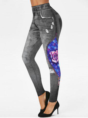 3D Ripped Print Rose Planet Galaxy Skinny Jeggings - ASH GRAY - 2XL