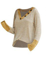 Contrast Heathered Buttoned V Neck Knitwear -