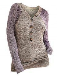 Contrast Heathered Button Front V Neck Knitwear -