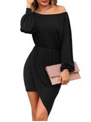 Skew Collar Asymmetrical Long Sleeve Dress -