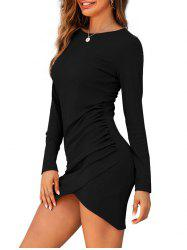 Rib-knit Slinky Ruched Front Bodycon Dress -