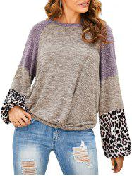 Contrast Heathered Leopard Twisted Hem Knitwear -