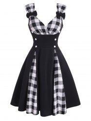 Plaid Panel Bowknot Button Embellished Dress -