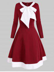 Christmas Pussybow Faux Fur Insert Colorblock Dress -