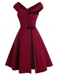 V Neck Bowknot Colorblock Party Dress -