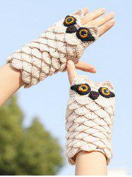 Owl Pattern Crochet Fingerless Mitten Gloves -