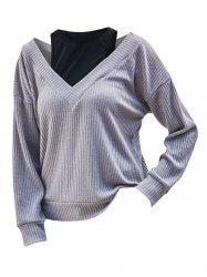 Cutout 2 In 1 Ribbed Knitwear -
