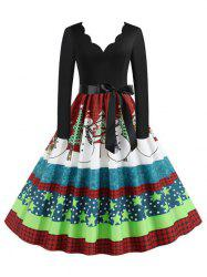 Scalloped Belted Plaid Snowman Christmas Tree Plus Size Dress -