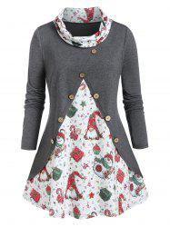 Plus Size Christmas Gift Cowl Neck Buttoned Tunic Tee -