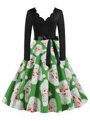 Belted Saclloped Santa Claus Christmas Plus Size Dress -