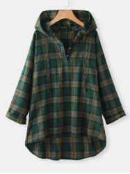 Plus Size Plaid Hooded High Low Top -