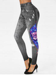 3D Ripped Print Rose Planet Galaxy Skinny Jeggings -