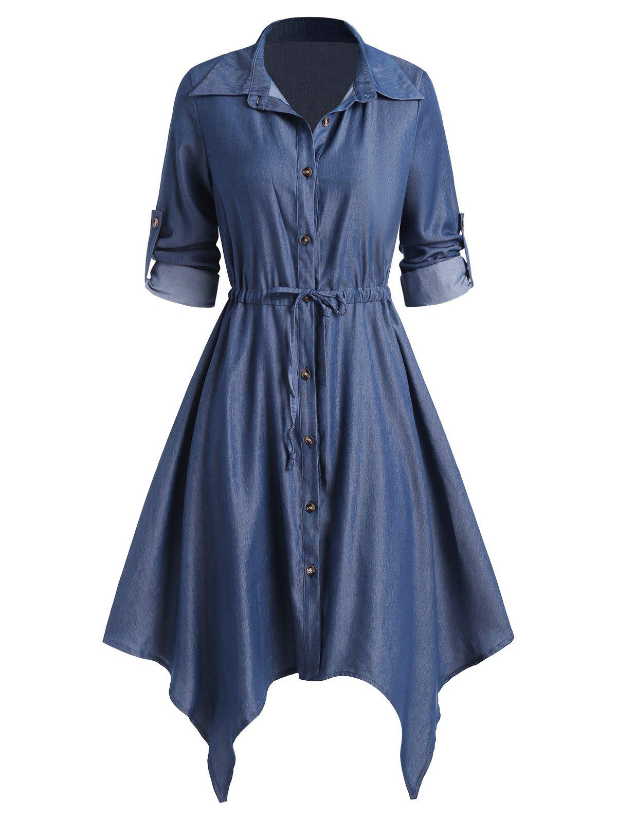 Unique Chambray Drawstring Roll Up Sleeve Hanky Hem Shirt Dress
