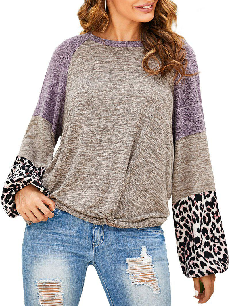 Unique Contrast Heathered Leopard Twisted Hem Knitwear