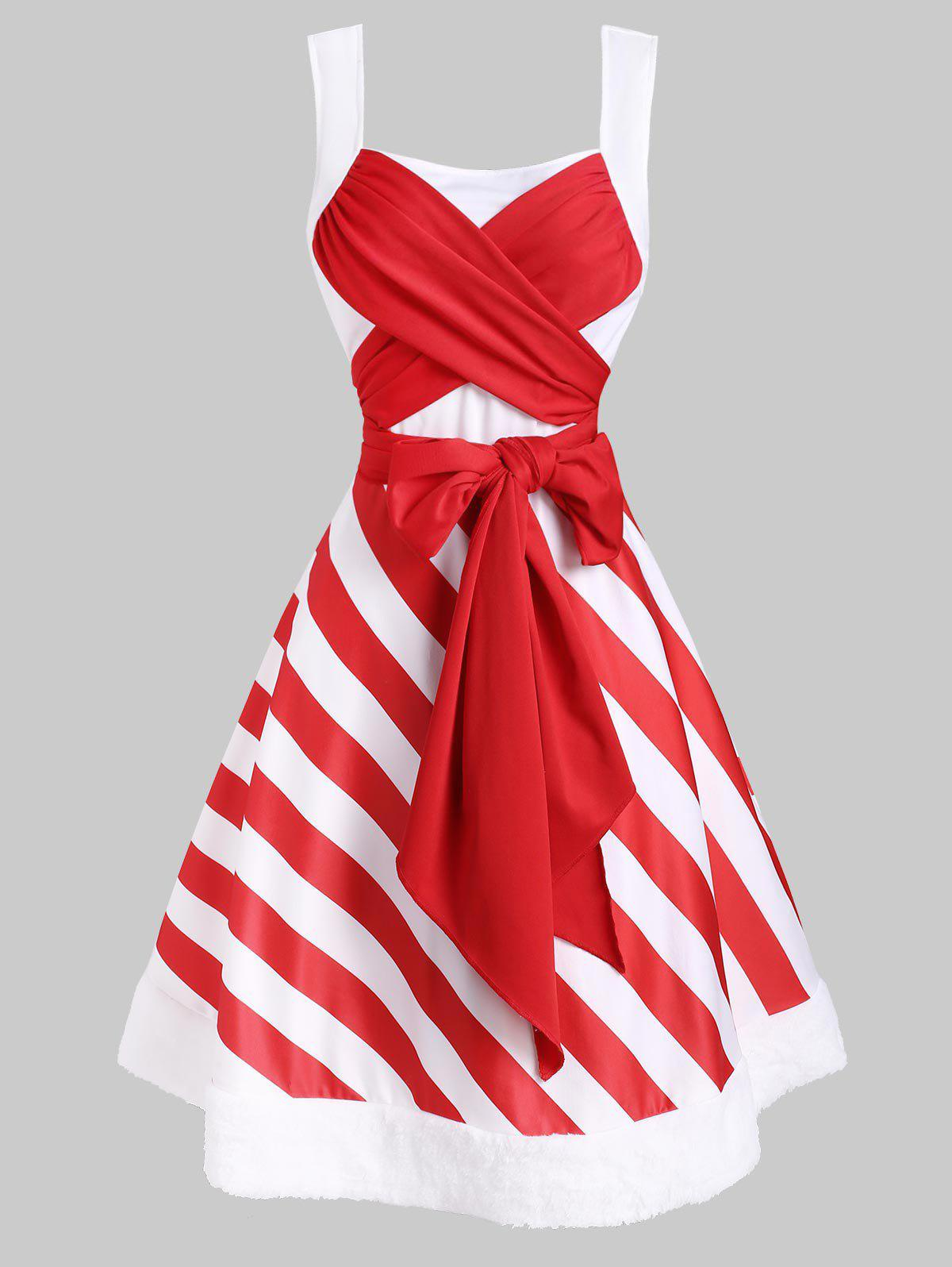 Latest Christmas Striped Faux Fur Panel Bowknot Dress