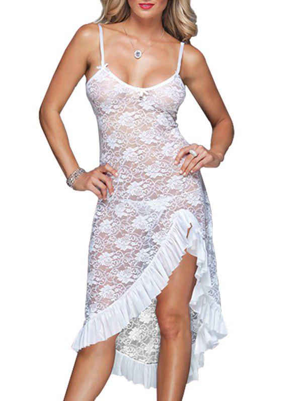 Floral Lace Ruffle Bowknot Asymmetrical Chemise