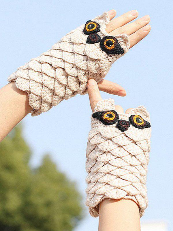 Best Owl Pattern Crochet Fingerless Mitten Gloves