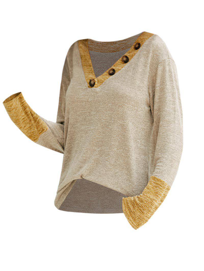 Buy Contrast Heathered Buttoned V Neck Knitwear