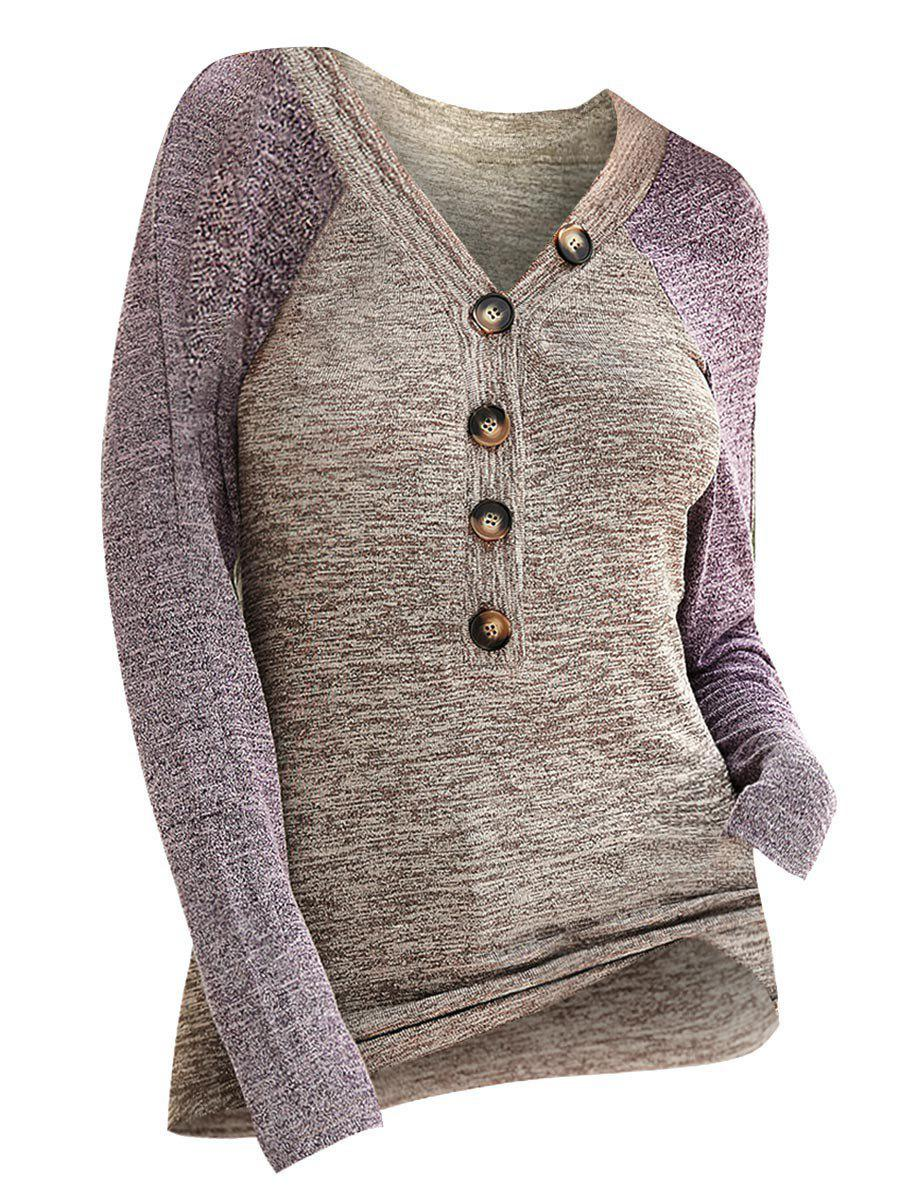 Hot Contrast Heathered Button Front V Neck Knitwear
