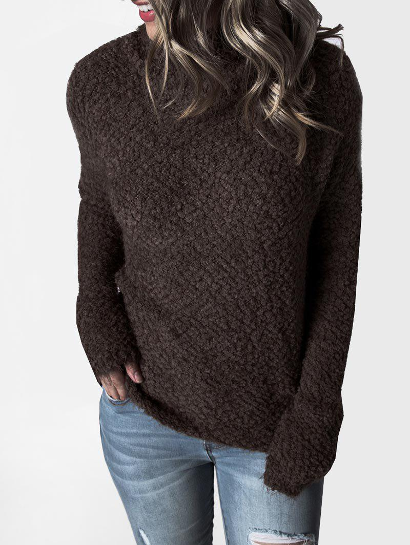 Cheap Mock Neck Boucle Knit Plain Sweater