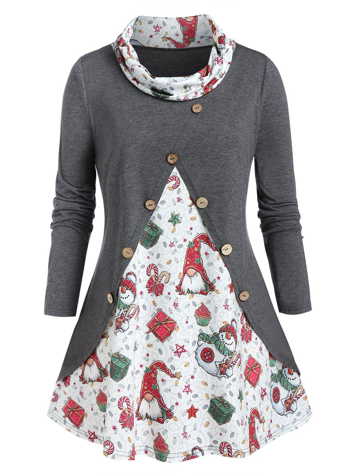 Buy Plus Size Christmas Gift Cowl Neck Buttoned Tunic Tee