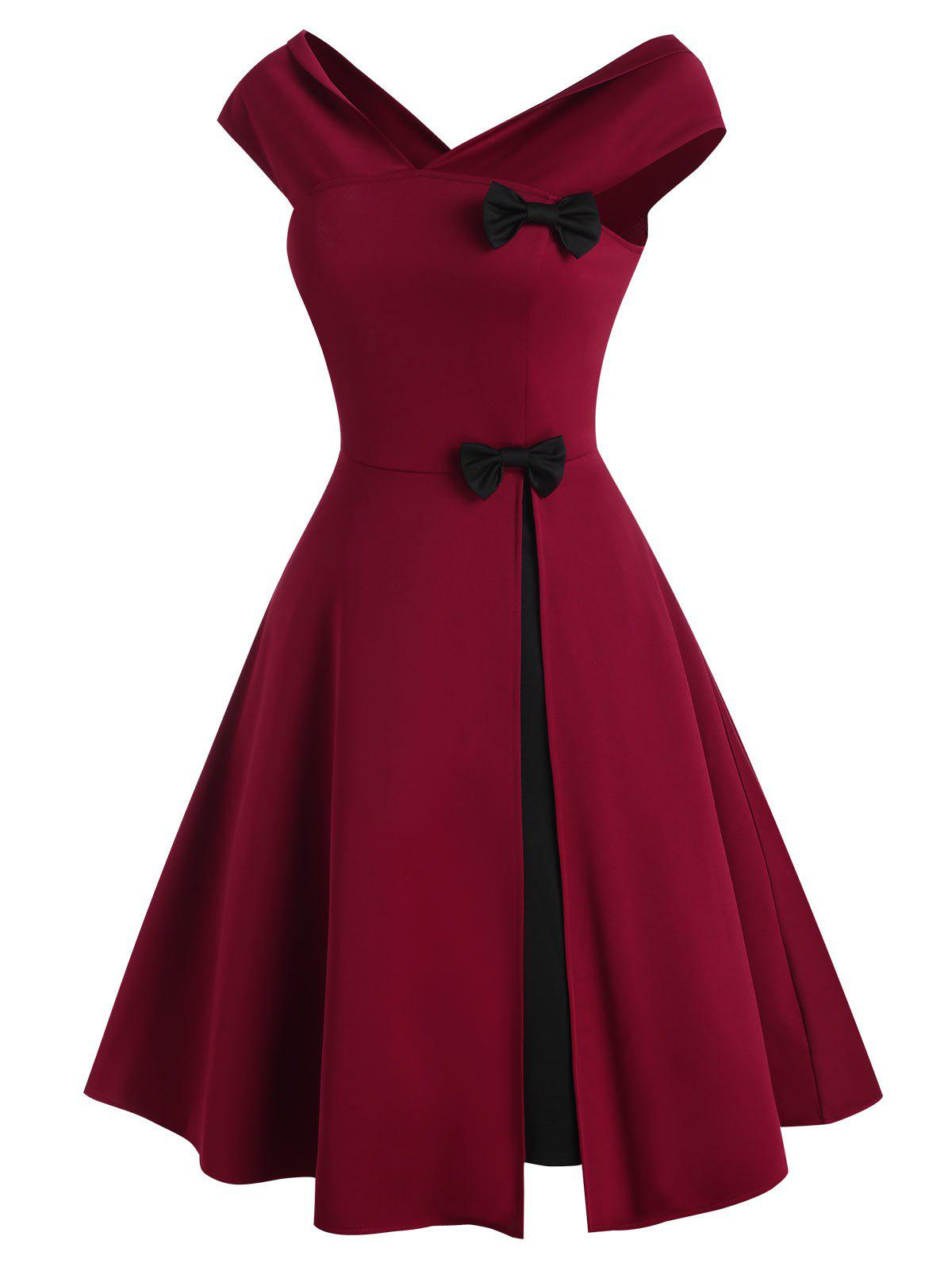 Trendy V Neck Bowknot Colorblock Party Dress