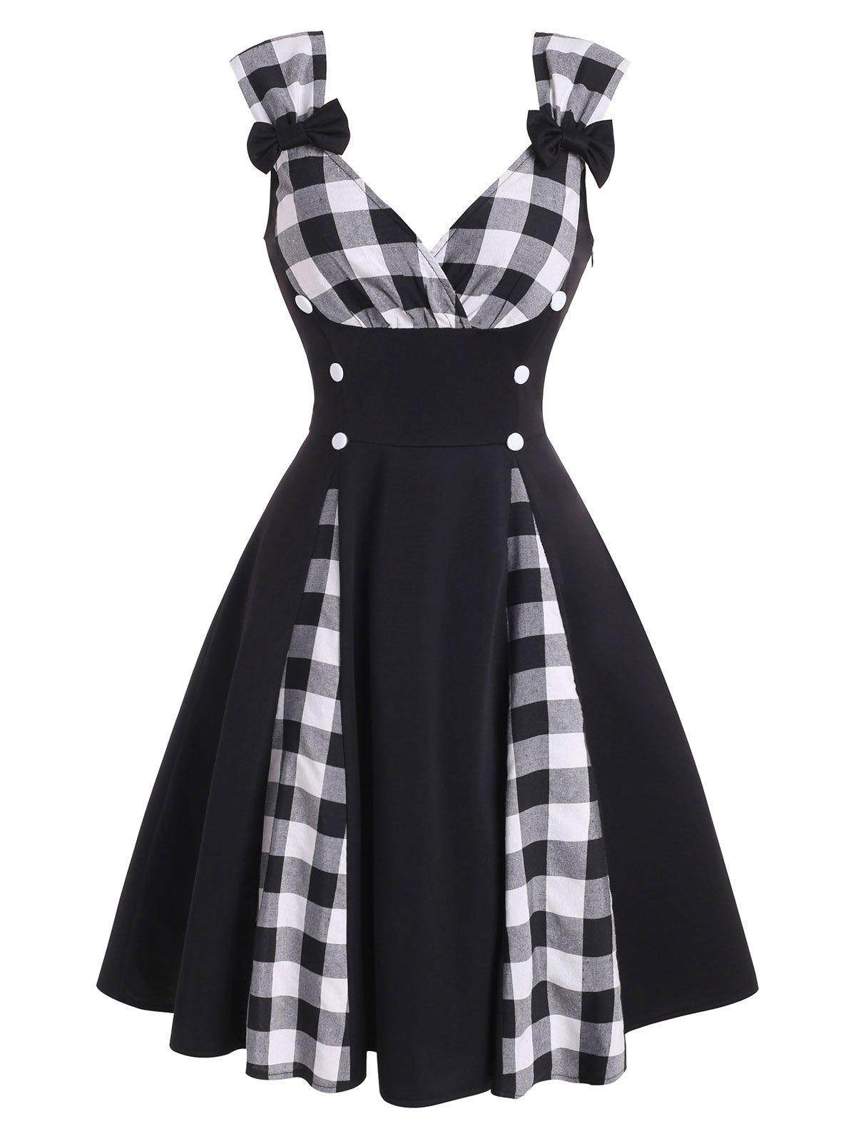 Chic Plaid Panel Bowknot Button Embellished Dress