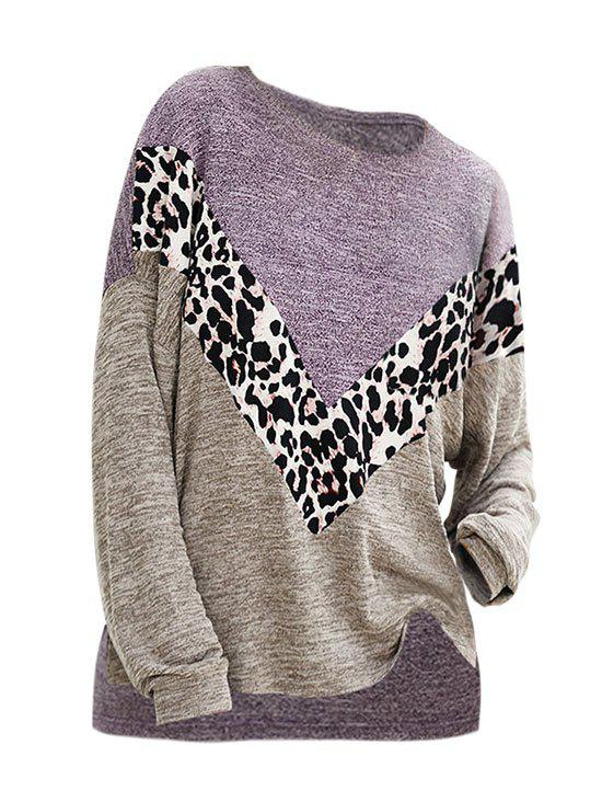 Affordable Heathered Leopard Slit High Low Knitwear