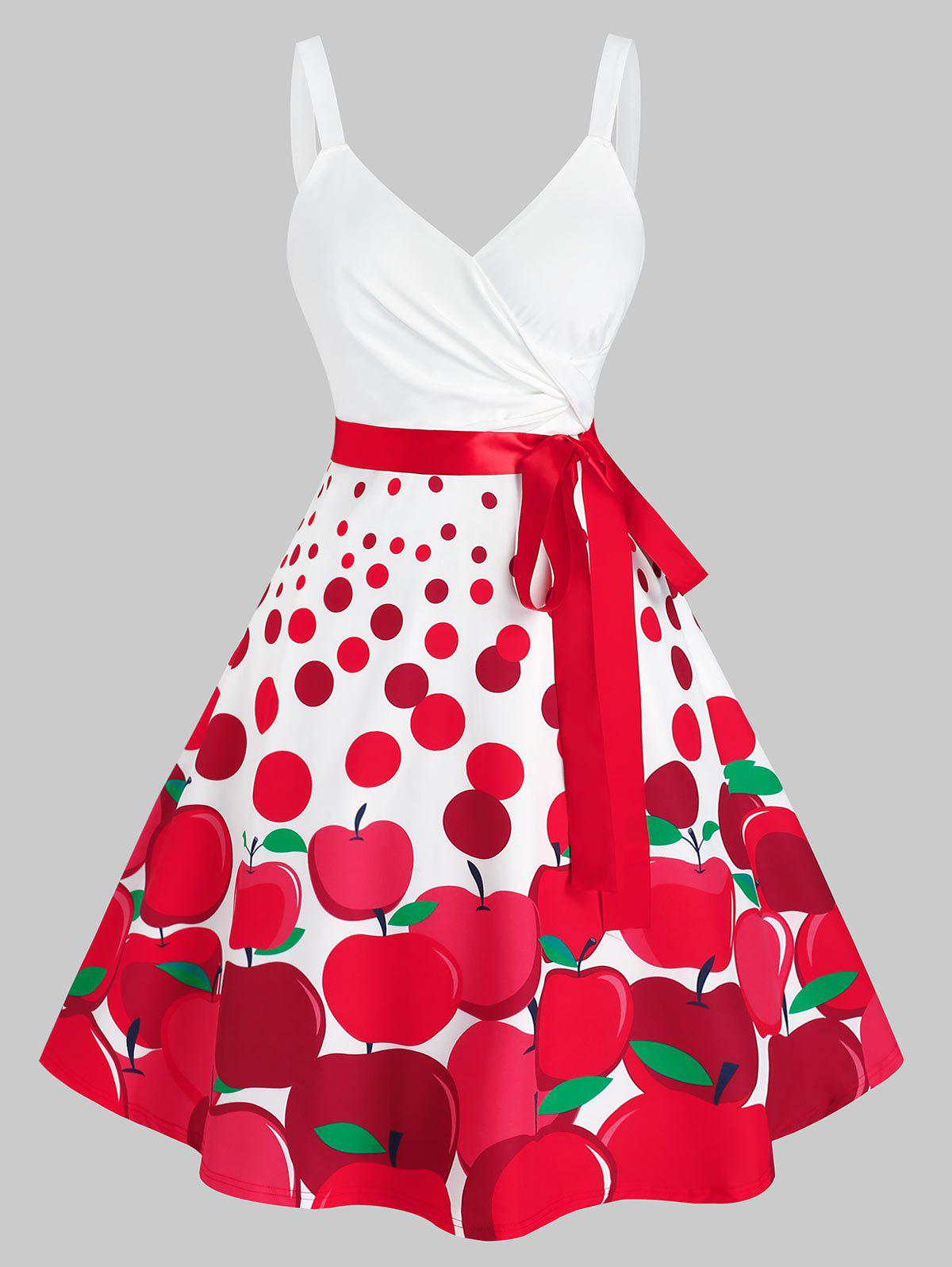 Discount Plus Size Cherry Print Midi Fit and Flare Dress