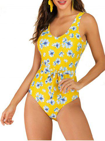 Flower Belted Backless One-piece Swimsuit - YELLOW - XL