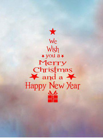 Christmas Tree Wish Letter Print Wall Art Stickers - RED - 40X22CM