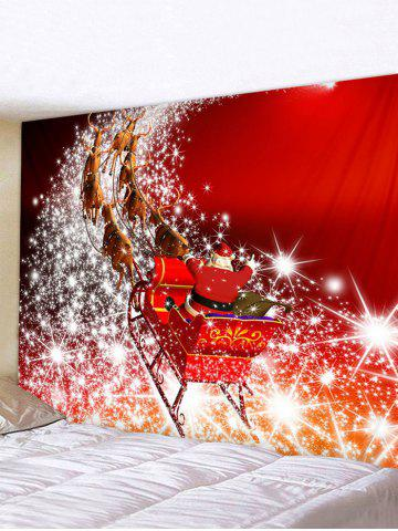 Christmas Santa Claus Elk Sleigh Print Tapestry Wall Hanging Art Decoration - MULTI - W91 X L71 INCH
